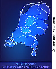 Map of Netherlands with borders as scrible