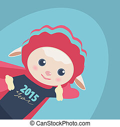 New Year illustration of a cute Super Hero sheep