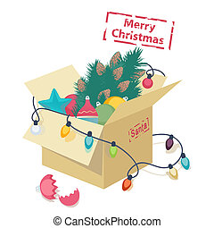 Cardboard box with Christmas decorations - Cardboard box...
