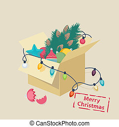 Christmas card design with a box of toys