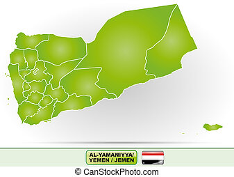 Map of Yemen with borders in green