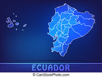 Map of ecuador with borders as scrible