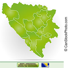 Map of Bosnia and Herzegovina with borders in green