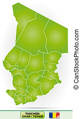 Map of Chad with borders in green