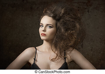 charming girl with voluminous hair - sexy girl with charming...