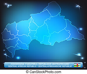 Map of Central African Republic with borders with bright...