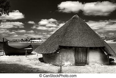 Ancient hut - Anciet hut in the Irish Heritage Museum in...