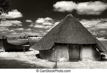 Ancient hut - Anciet hut in the Irish Heritage Museum in...