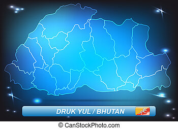 Map of bhutan with borders with bright colors