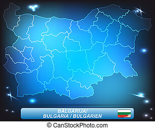 Map of Bulgaria with borders with bright colors