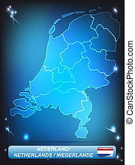 Map of Netherlands with borders with bright colors