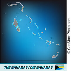 Map of Bahamas with borders in bright gray