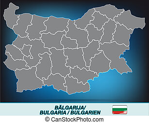 Map of Bulgaria with borders in bright gray