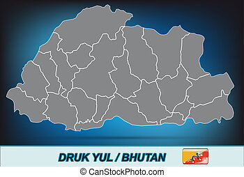 Map of bhutan with borders in bright gray