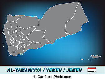 Map of Yemen with borders in bright gray