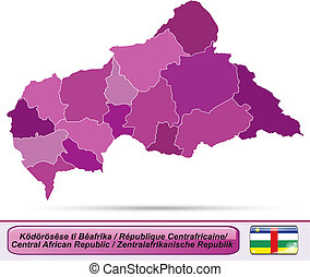Map of Central African Republic with borders in violet