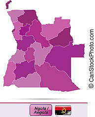 Map of angola with borders in violet