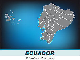 Map of ecuador with borders in bright gray