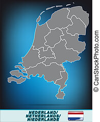 Map of Netherlands with borders in bright gray