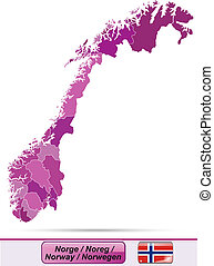Map of Norway with borders in violet