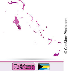 Map of Bahamas with borders in violet