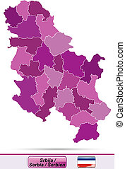 Map of Serbia with borders in violet