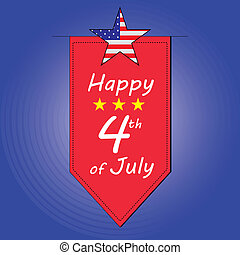 4th of July - a red ornament with some text and stars for...