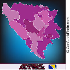 Map of Bosnia and Herzegovina with borders in violet