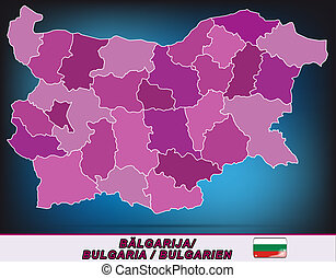 Map of Bulgaria with borders in violet
