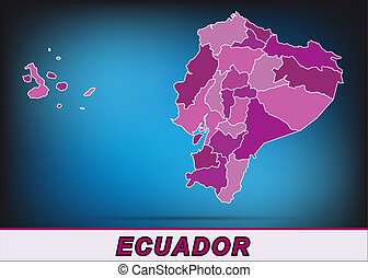 Map of ecuador with borders in violet
