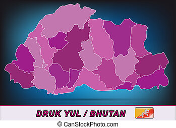 Map of bhutan with borders in violet