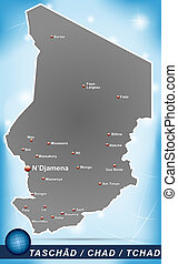 Map of Chad with abstract background in blue