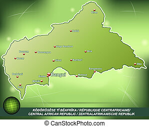 Map of Central African Republic with abstract background in...