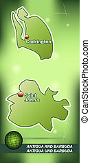 Map of antigua and barbuda with abstract background in green