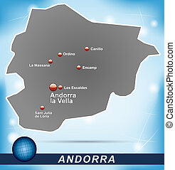 Map of Andorra with abstract background in blue