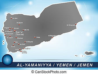 Map of Yemen with abstract background in blue