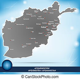 Map of Afghanistan with abstract background in blue