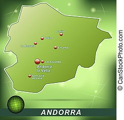 Map of Andorra with abstract background in green