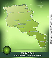 Map of Armenia with abstract background in green