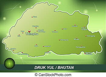 Map of bhutan with abstract background in green