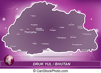 Map of bhutan with abstract background in violet