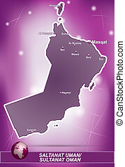 Map of Oman with abstract background in violet