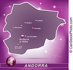 Map of Andorra with abstract background in violet