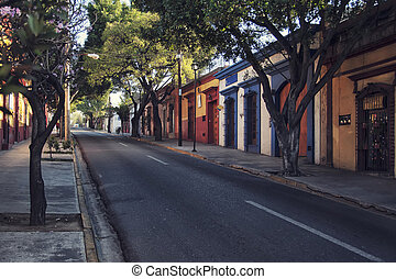 Puebla de Zaragoza, Mexico - Morning streets in the one of...