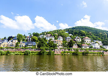 Neckar valley with reflection of Heidelberg houses at the...