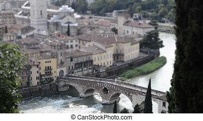 Timelapse at Verona, Italy - Timelapse at Roman Bridge...