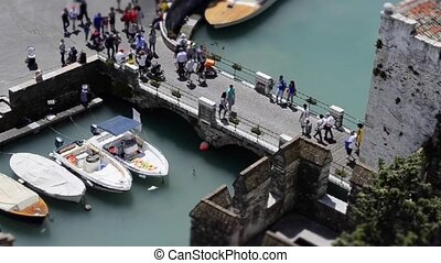 Timelapse at Sirmione, Italy - Timelapse at Scaliger Bridge,...