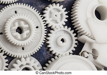 The plastic gear Photo fragment of machine