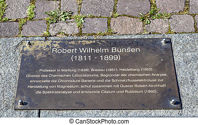 memorial plate of Robert Wilhelm Bunsen in Heidelberg