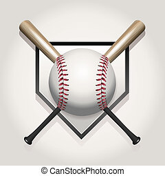 Baseball, Bat, Homeplate Illustration - A baseball...